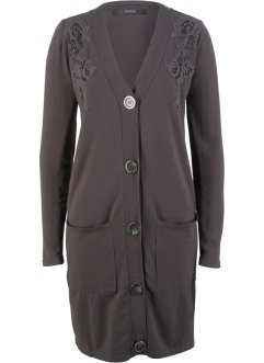 Long-Strickjacke mit Spitze, bpc bonprix collection
