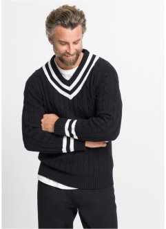 V-Pullover mit Zopfmuster, bpc selection