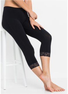 Capri Schlaf Leggings mit Spitze, bpc bonprix collection