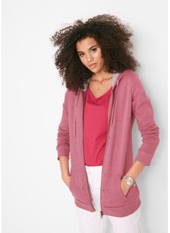 Kapuzen-Sweatjacke mit Lochstickerei, bpc bonprix collection