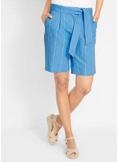 Gestreifte Leinen-Shorts mit Bindeband, bpc bonprix collection