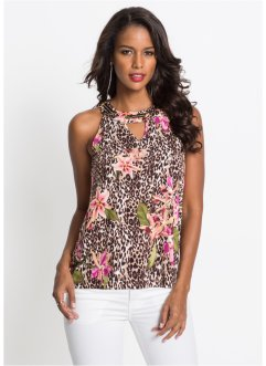Leo-Top mit Blumenprint, BODYFLIRT boutique