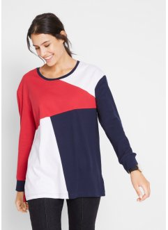 Baumwoll-Langarmhirt im Colourblocking-Stil, bpc bonprix collection