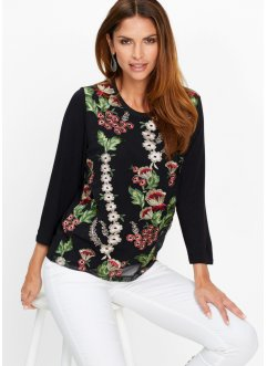 Premium Shirt mit Blumen-Applikation, bpc selection premium