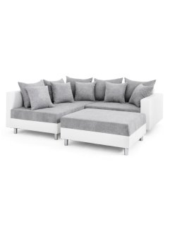 Ecksofa mit Hocker zweifarbig, Ecke links, bpc living bonprix collection