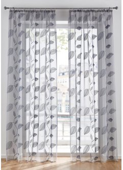 Halbtransparente Gardine mit floraler Stickerei (1er Pack), bpc living bonprix collection