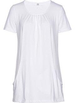 T-Shirt Kurzarmshirt Knoten Silber Herz Lochstickerei Italy 34 36 38 40 weiß