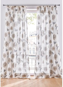 Halbtransparente Gardine mit Blumen Druck (1er Pack), bpc living bonprix collection
