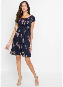 Kleid Gr.44+46+48+52+54 Neckholderkleid Blüten Kurz Damen Blau Sommer stretch