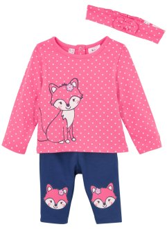 Baby Shirt + Leggings + Haarband(3-tlg.) Bio-Baumwolle, bpc bonprix collection