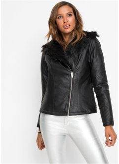 Biker-Jacke mit Fellimitat, BODYFLIRT boutique