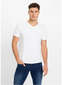 Stretch-T-Shirt mit V-Ausschnitt (2er Pack), Slim Fit
