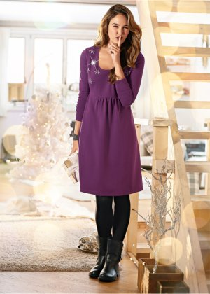 Langarm-Shirtkleid mit Schmucksteinen, bpc bonprix collection