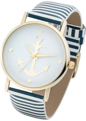 Bonprix Damen gestreifte Armbanduhr mit Anker | 04260239651381
