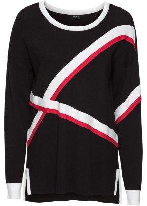 Oversized-Pullover mit asymmetrischem Saum langarm in schwarz von bonprix Bodyflirt WOWXbFyT