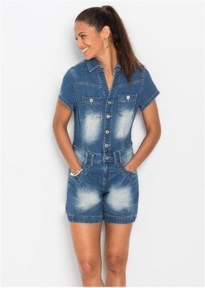 Jeans-Jumpsuit kurzer Arm in schwarz von bonprix Bonprix ROh3f
