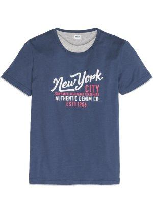 Bonprix Herren T-Shirt in Doppeloptik mit Druck Regular Fit   04893962290871