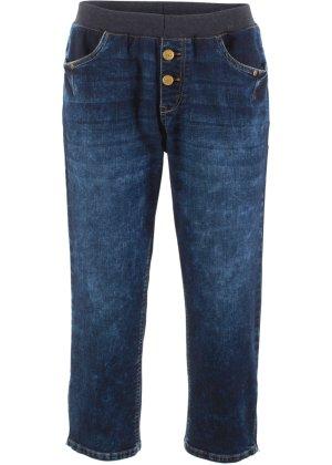 Bonprix Damen,Kinder,Jungen 3/4-Boyfriend-Stretch-Jeans mit Rundumrippbund | 08940000815193