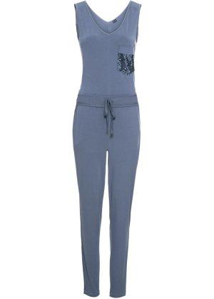 Bonprix Damen Jersey-Jumpsuit mit Paillettentasche   08698269350169