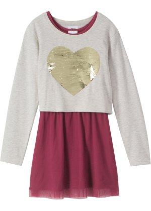 108c37159572 Boxy-Sweatshirt mit Wendepailletten + Kleid mit T uuml ll (2-tlg.