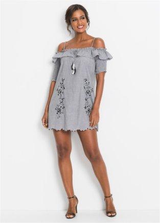 5e397e6fd599b3 Cold-Shoulder-Kleid mit Stickerei schwarz/weiß kariert - BODYFLIRT ...