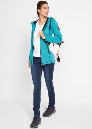 Komfortable Jacke mit Aufnäher dunkeltürkis meliert