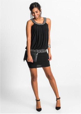 Hinreißendes Cocktail-Kleid mit Schmucksteinen - schwarz