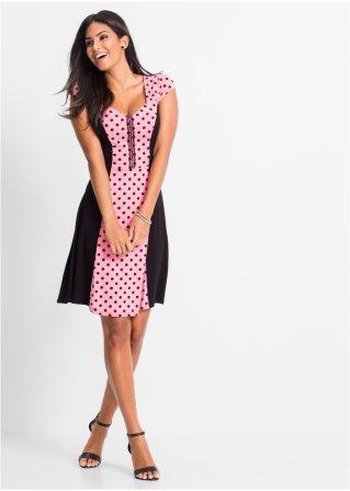 Hübsches Kleid im Punkte-Design mit Spitzeneinsatz und Raffärmeln ...