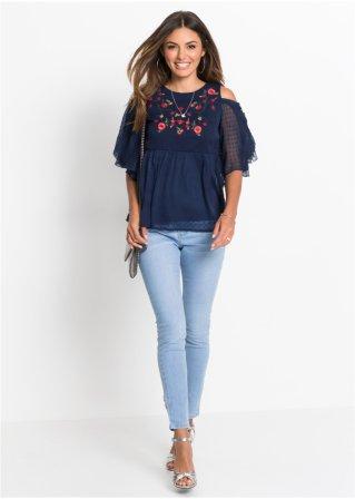 55ae088e404b Schöne Skinny Jeans mit floraler Stickerei am Beinende - blue bleached