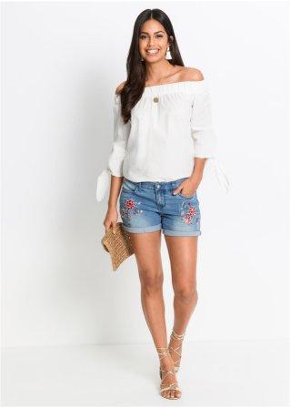 Schöne Jeans-Shorts mit Stickerei und Umschlagsaum - blue bleached da2733f546