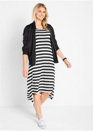 Jerseykleid mit asymmetrischem Saum%2c 1/2 Arm in schwarz von bonprix Bonprix DaHoha