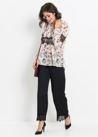 8d76d100218f Feminine Bluse mit Blumenmuster und Spitzenapplikation - wollweiß ...