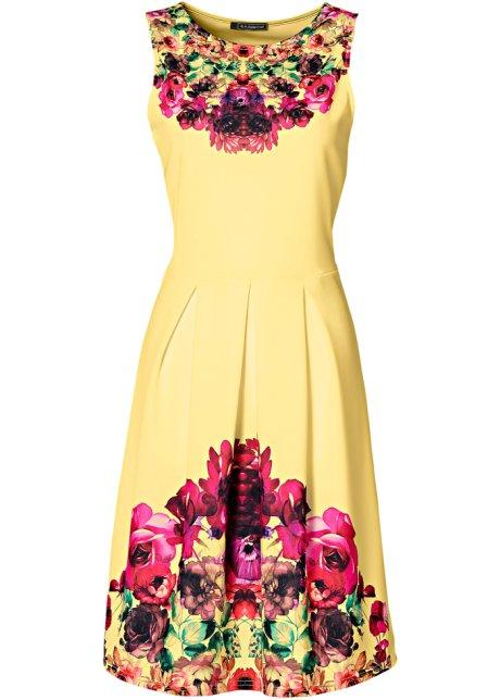 Hübsches Kleid mit Print und leicht ausgestelltem Rockteil - gelb multi