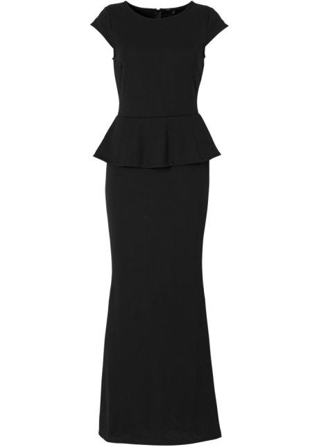 Elegantes Maxi-Kleid mit Schößchen - schwarz