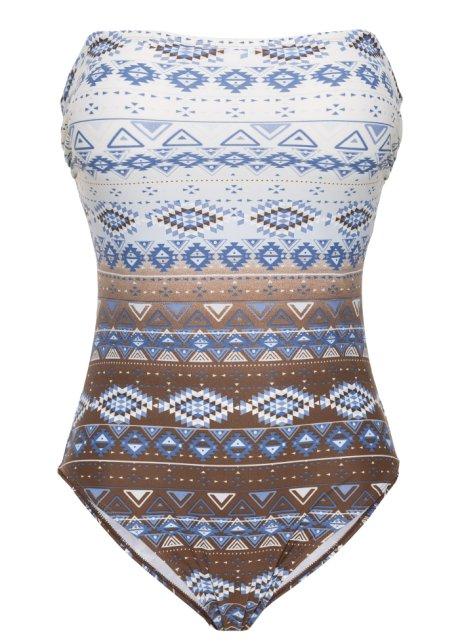 Individuell bedruckter Formbadeanzug im Bandeaulook - weiß blau braun a82e92ad40