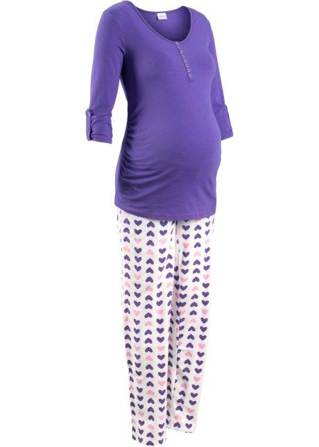 06b04835f9b4b2 Zweiteiliger Pyjama für Schwangerschaft und Stillzeit - lila/weiß ...
