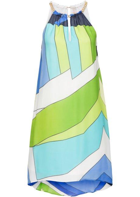 Auffälliges Chiffon-Kleid mit grafischem Allover-Print - blau/grün