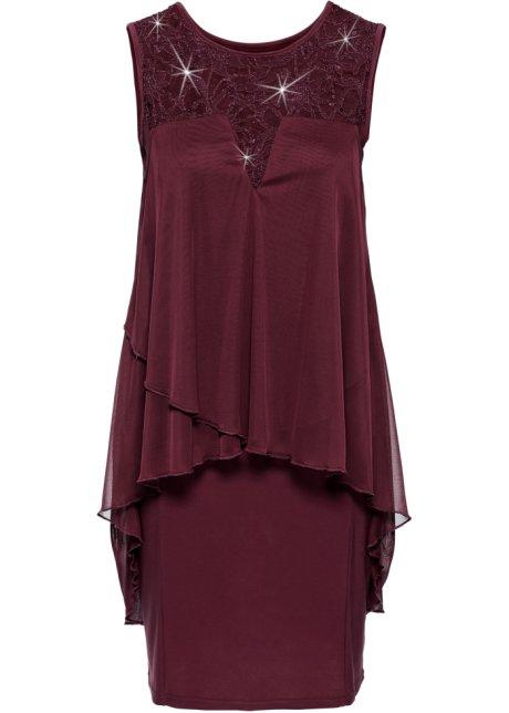 Apartes Kleid mit Pailletten - dunkelrot 1f642b28c6