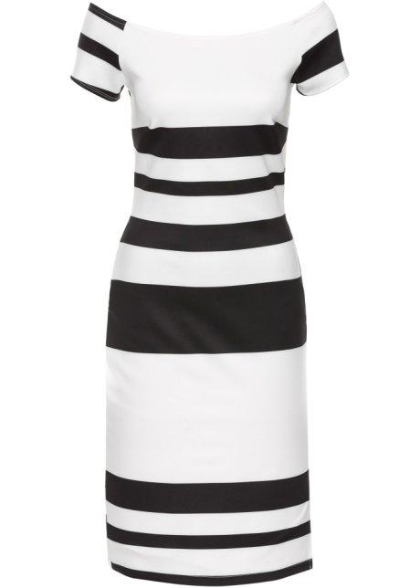Ganz und zu Extrem Ausgefallenes Kleid mit Carmen-Ausschnitt - schwarz/weiß gestreift &CC_56