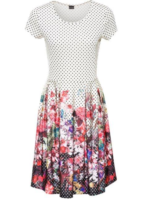 Mit Punkten und Blumen bedrucktes Kurzarm-Kleid - dunkelrot/weiß ...