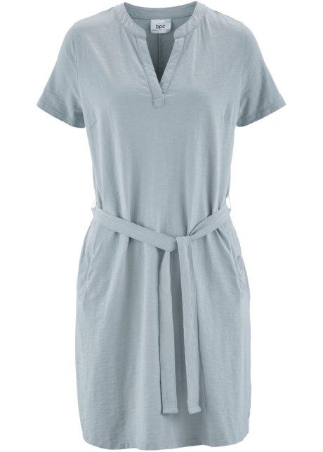 Leichtes Kleid mit seitlichen Eingrifftaschen - silbergrau