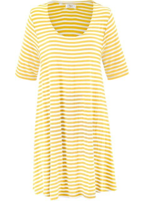 941b7462d9a56 Weit geschnittene Shirt-Tunika in A-Linie - gelb/wollweiß gestreift