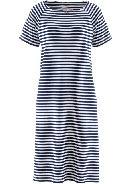 b8e53fe951b694 Kaschierendes Kleid in A- Form und halbem Arm - dunkelblau/weiß ...