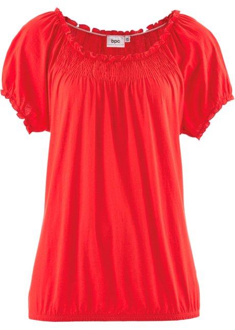 13d256569fac65 Legeres Rundhals-Shirt mit Elastik-Bund - erdbeere