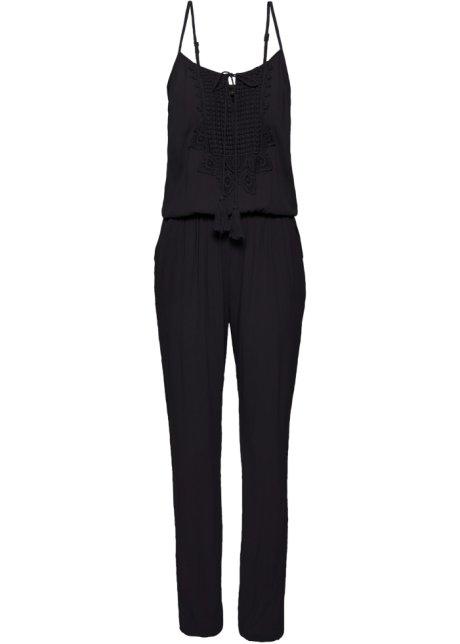 8048ba129a2ac7 Ärmelloser Jumpsuit mit Spitze und Kordeldetail - schwarz