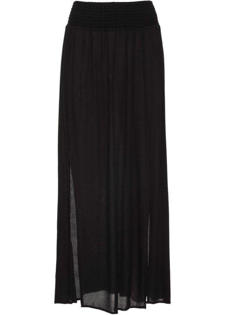 66d559fc5c3416 Femininer Rock in Maxilänge mit seitlichen Schlitzen - schwarz