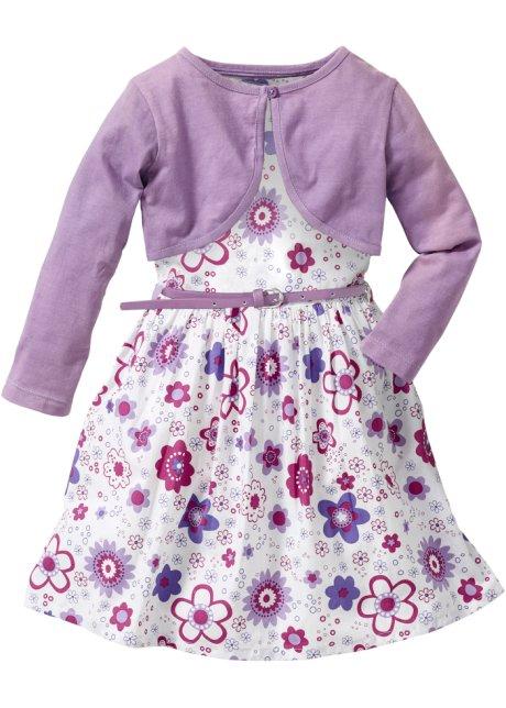 Tolles Set aus Kleid mit Bolero und Gürtel - weiß/flieder gemustert