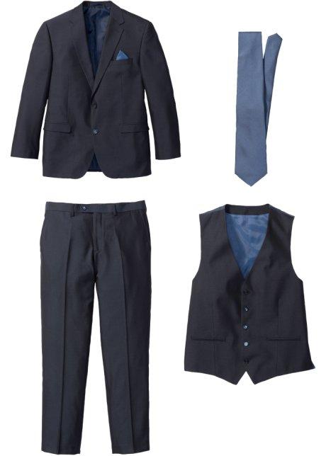 stilvoller 4 tlg anzug mit dezenter krawatte dunkelblau blau, n gr��e  anzug, bpc selection