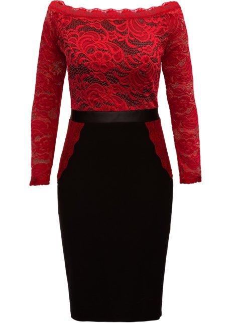 Kleid Rockteil Spitzen Rotschwarz Apartes Mit Kontrastfarbigem vmN0wn8