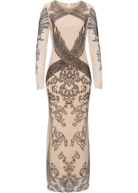 Kleid mit Glitzersteinen natur/schwarz bedruckt - BODYFLIRT boutique ...
